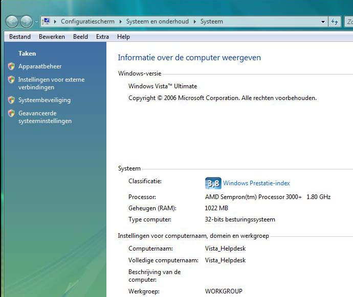 Informatie Windows Vista Index